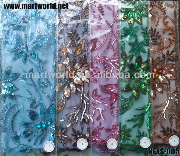 hand work beaded sequined embroidery flower fabric (NEXS-005)