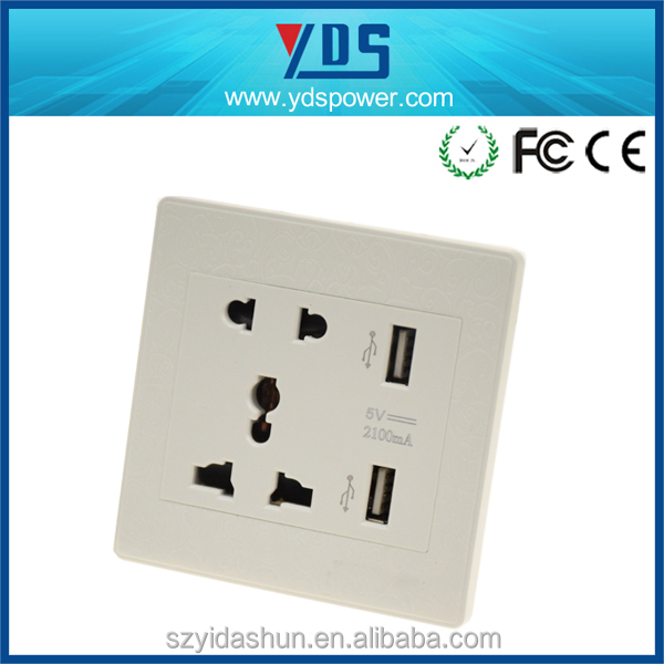 2015 Best selling 100-220V UK/EU/US/AU plug 5V 2.1A electrical sockets USB wall outlet mounted wall socket with usb port