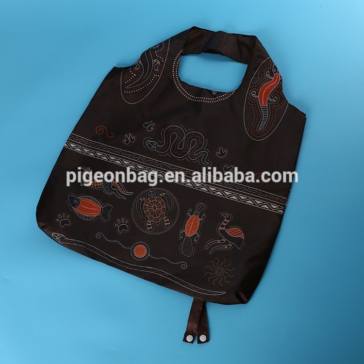 handle carrying shopping bag handle food recycling packaging nylon filter bag 420D ripstop foldable nylon foldable tote bag