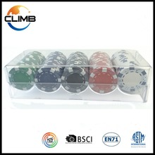 Wholesale High-end casino poker chips tray Plastic Acrylic Customized Transparent Poker Chip Set