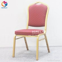 Factory wholesale cheap used sale modern wedding event stackable rental gold metal aluminum iron steel hotel hall banquet chair