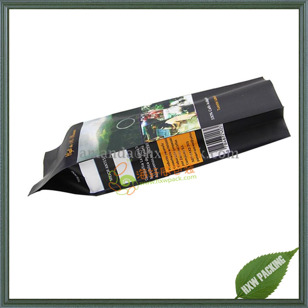 Wholesale plastic lined foil coffee bean pouch / Aluminum foil side gusset quad seal stand up packaging coffee bag with Valve
