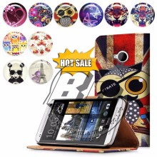wholesale alibaba for htc one m7 case, wallet stand printed pu leather flip case for htc one m7