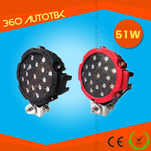 "51w Round Epistar LED light 7"" spot Work off road fog driving roof bar bumper 4x4 utv led work lights"