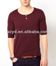 Dark Red Stripe Collar Button Decorative Half Sleeve T-shirt