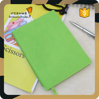 Custom School Green PU Leather Cover Notebooks wth Pen Holder