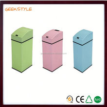 Hot selling candy color mini sensor stainless steel public recycle bin