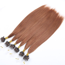 High quality blown straight curly human hair brazilian pre bonded micro ring hair extension