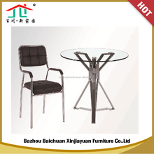 Cheap Home Furniture Round Tempered Glass with Stainless Steel Legs Dinning Room Table Set