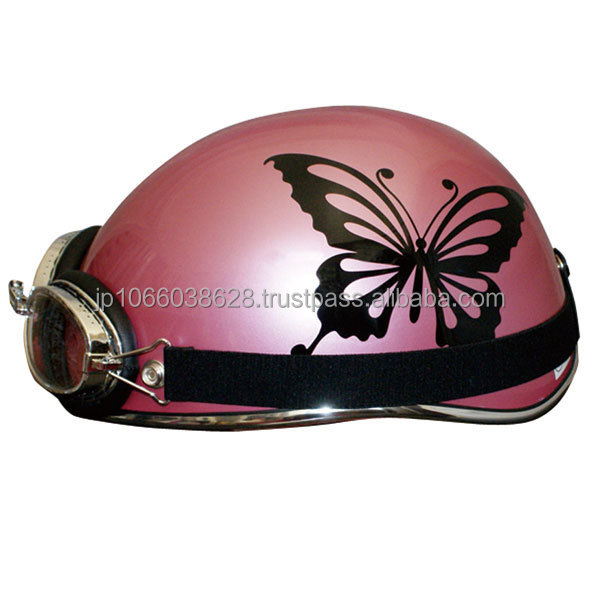 Japanese half helmet for women with cheer butterfly graphics