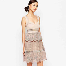 latest dress designs self portrait women spaghetti strap ruffle lace midi dress