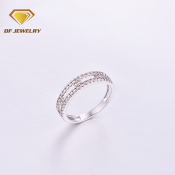 Genuine Brass Geometric CZ Baguette Shaped Finger Ring for Mother's Day Gift