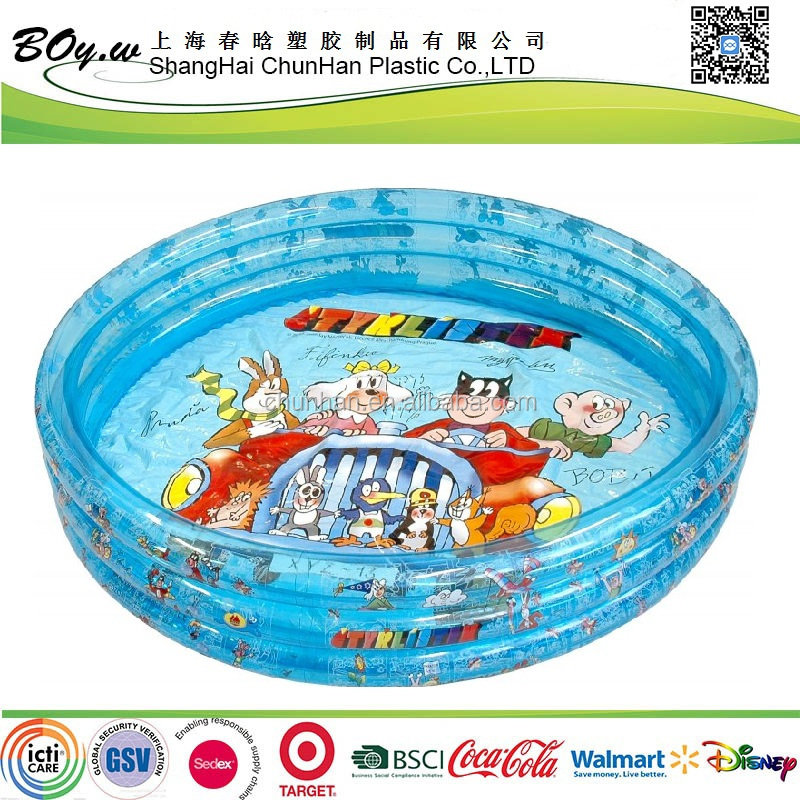 FAMA factory testing round transparent blue cover cartoon imprint children inflatable pvc round pool