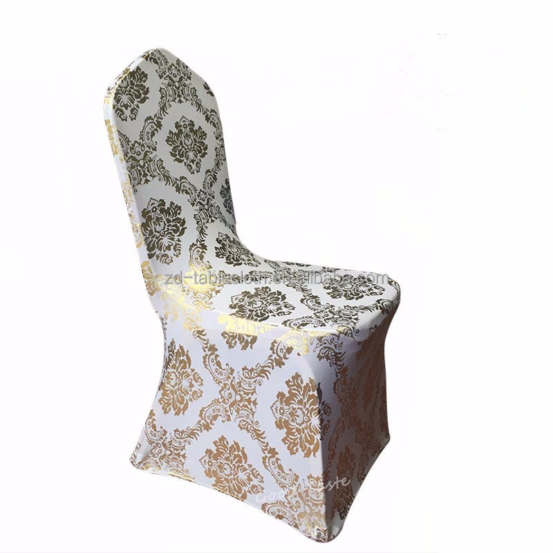 wholesale Gold Print white Spandex wedding Chair Covers pattern