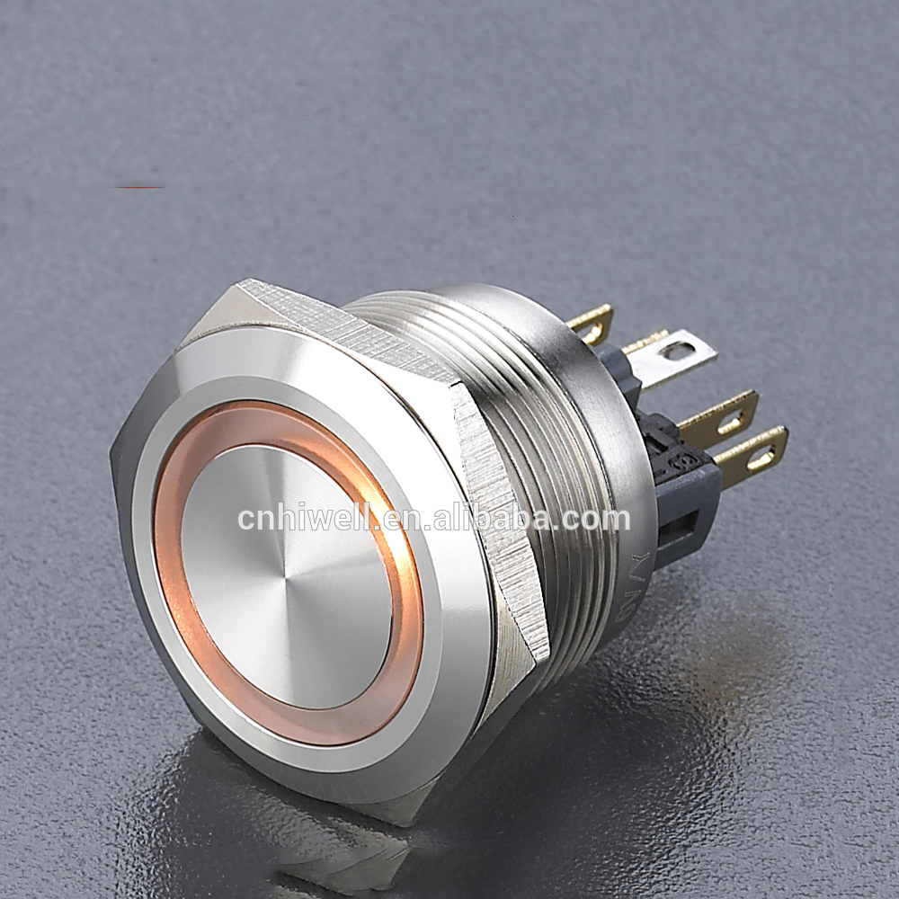 Sell well 25mm LED metal push button switch ring illuminated