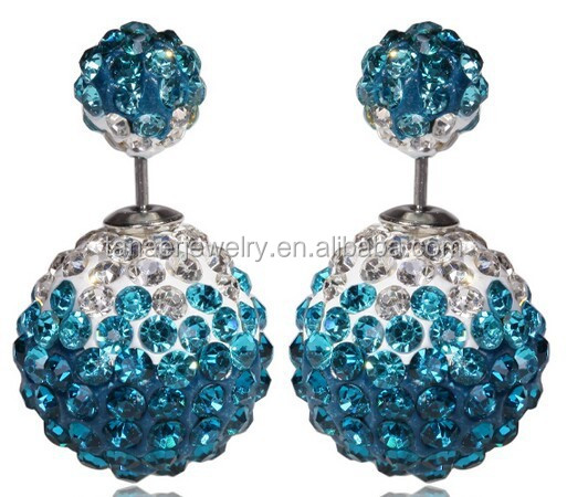 2015 Back with crystal ballstud earring, Two ball Earrings Stud