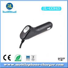 Double fast speed elegant black usb port /usb spring cable in-car charger