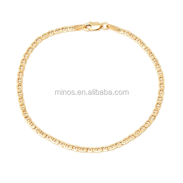 New Design Stainless Steel 10k Yellow Gold Marina Chain Bracelet