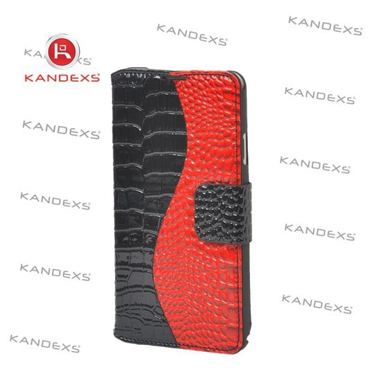Dark red light PU leather imitation snakeskin case for iphone