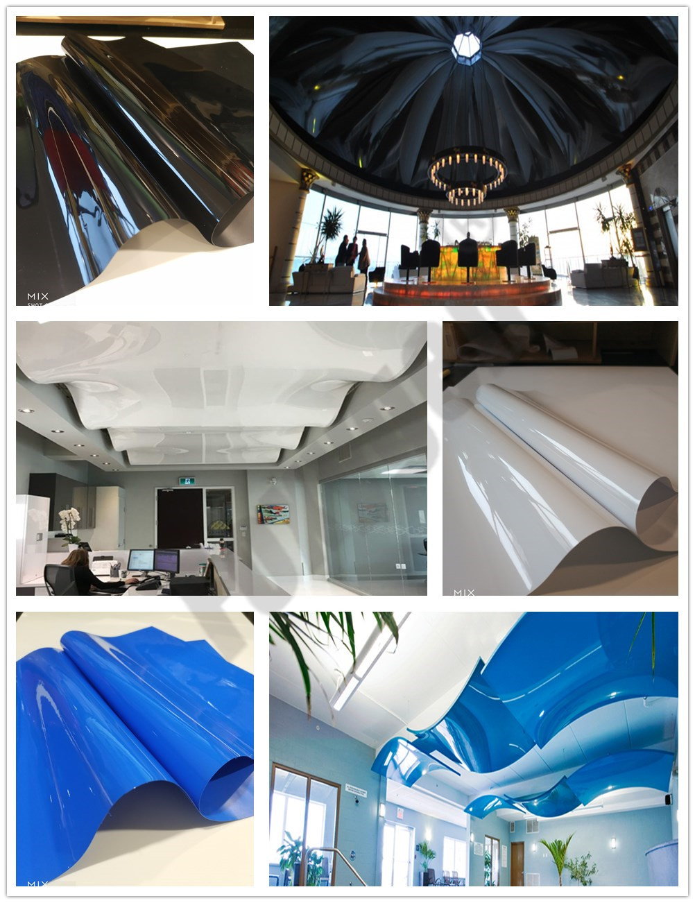 Up to 5 meters width Black lacquer stretch film  Manufacture  home decor High Glossy PVC stretch ceiling foil