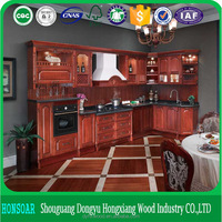 custom made solid wood imitate kitchen cabinet, cherry wood or mahogany