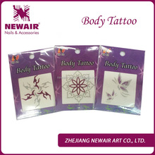 2014 new arrival permanent glitter tattoos 6 color/brushes/glue/stencil temporary tattoo