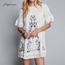 Dabka Work Crochet Trim Wide Sleeve Keyhole Back Beautiful Floral Embroidered Beach Tunic Dress with Lace