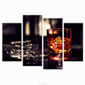 Cigar and Whisky Bar Wall Decoration 4-Panel Canvas Photo Prints Modern Living Room Decor Wholesale Canvas Painting