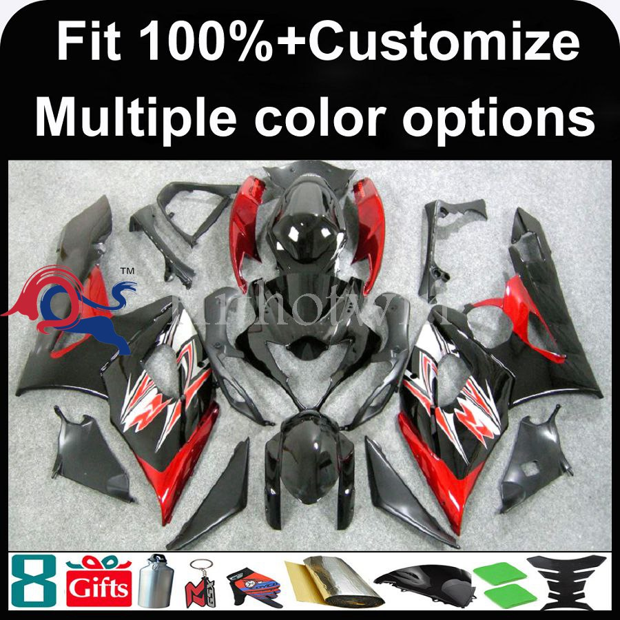 INJECTION MOLDING panels 2005 2006 GSX-R1000 red black Fairing For Suzuki K5 2005 2006 GSX R1000 GSXR1000 GSXR 1000 Fairing