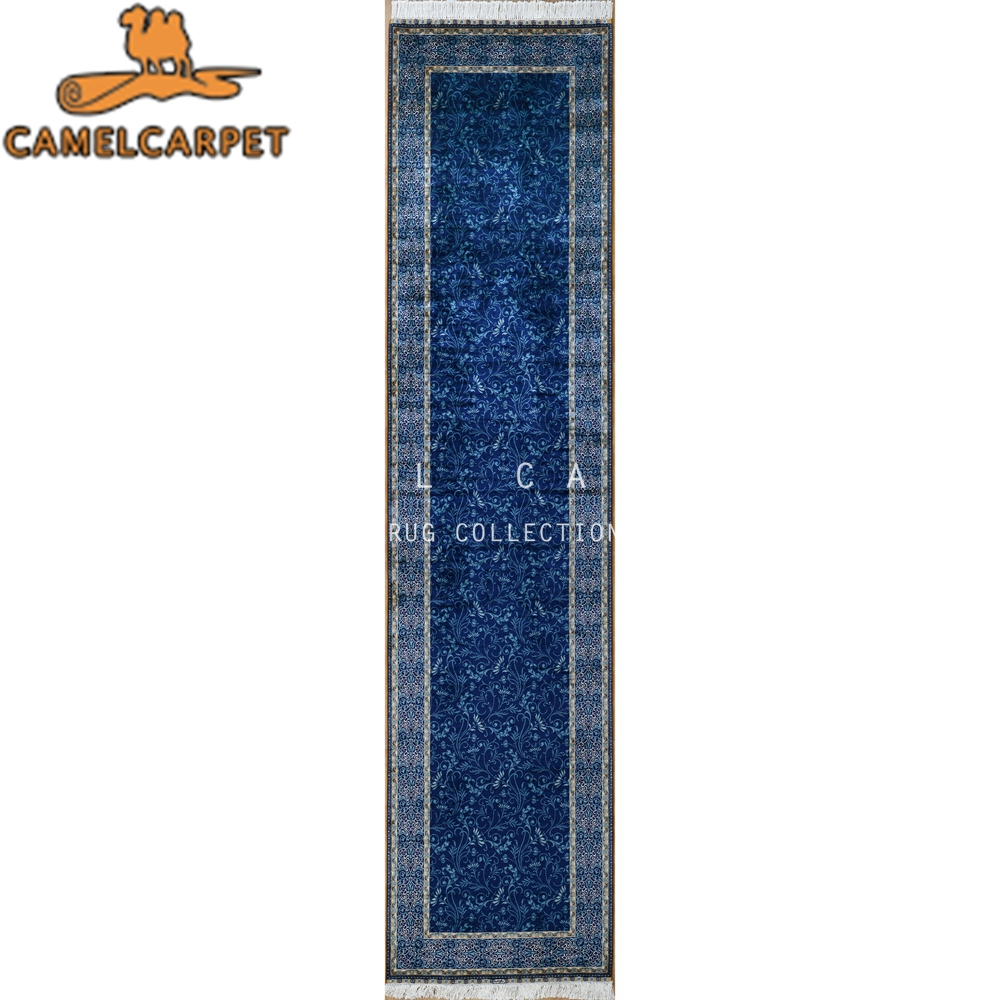 hand knotted turkish rug bright blue natural silk hall runner rugs