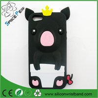 Custom Cute 3D Pig Crown animal Soft Silicone Case for iPhone 4 4s 5 5s 5c SE Rubber Back Cover Skin Phone Cases