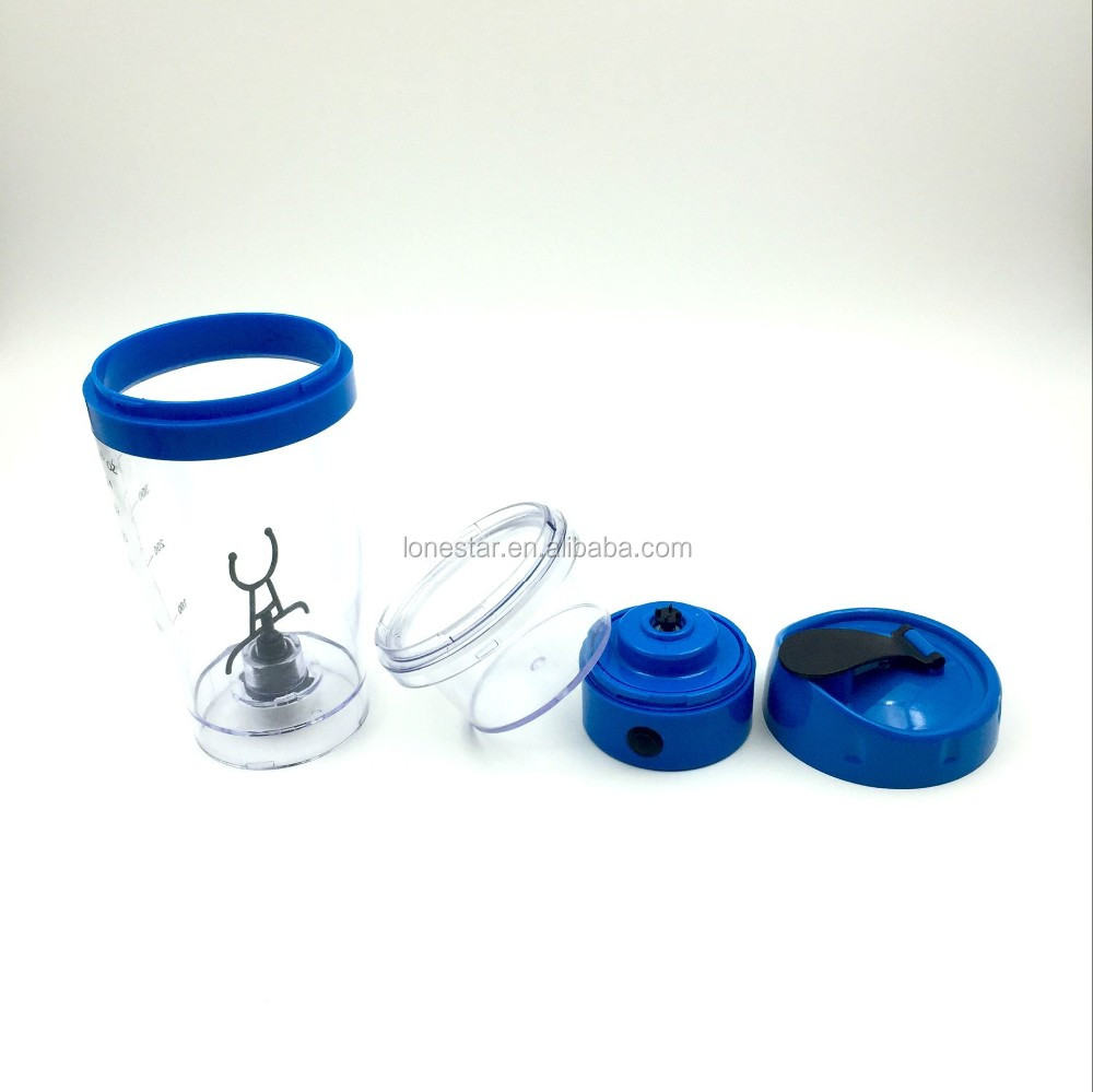 Large capacity 450ml stainless steel metal blue USB Rechargeable Automatic milk stirring Cup with storage box