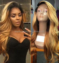 factory price two tone color peruvian human hair ombre wig