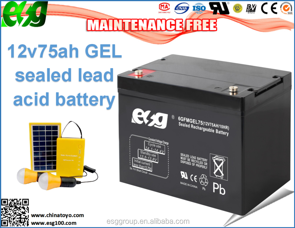 Off grid wind solar system home used power storage 12v75ah battery