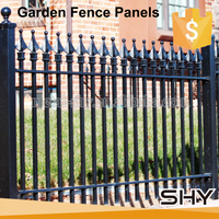 used cheap outdoor decorative galvanized wrought iron metal garden fence panels for sale