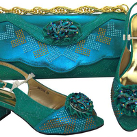 AB8499#1 New designs teal luxury italian shoes with matching bags for african party