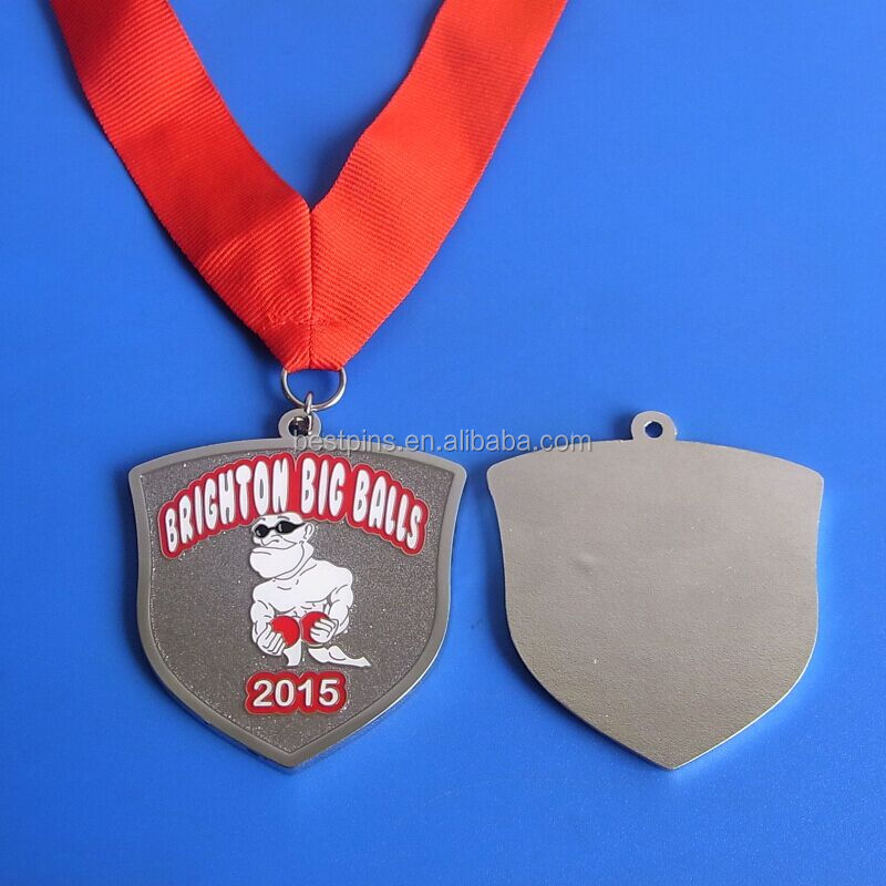 customize shape 2015 Brighton Big Balls medal sand blasting antique silver medal