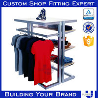 t shirt display, metal retail store t shirt floor display stand for clothing shop