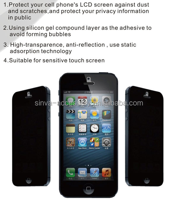 High quality 0.33mm Cell Phone 180 Degree Anti Spy Privacy Tempered Glass Screen Protector for iPhone 5 oem/odm