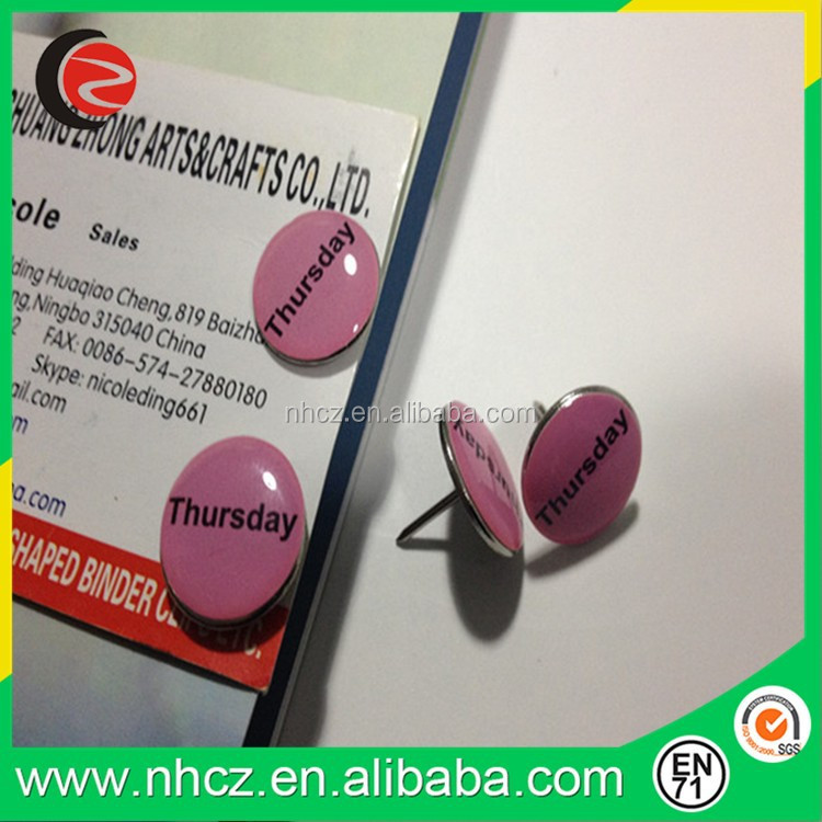 Round Pink Thursday Custom Push Pin