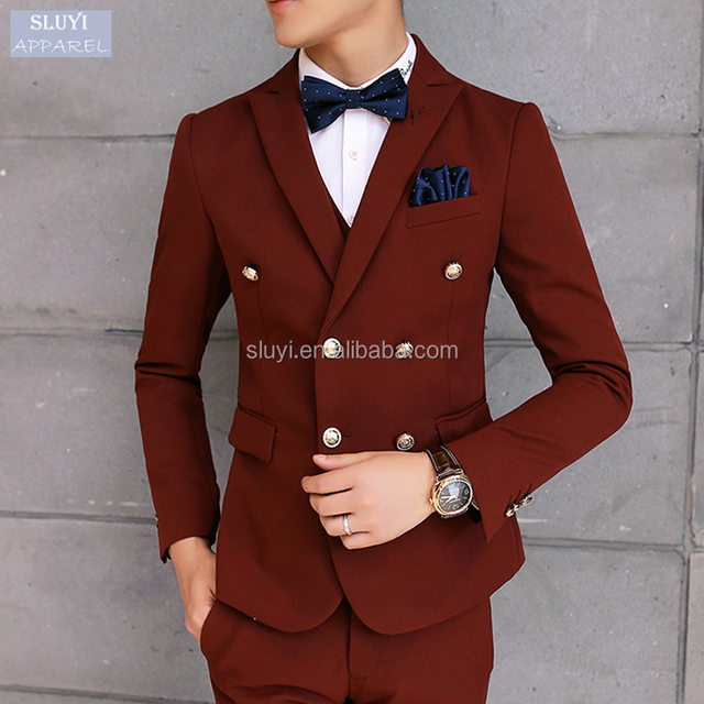 man suit blazer Slim Fit Men Casual Single Button long sleeve red Fashion Stylish latest design coat pant men suits for wedding