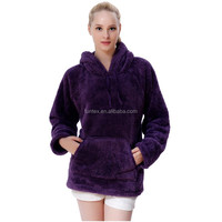 Latest Design 100 Polyester Snuggle Fleece Ladies No Zipper Pullover Hooded Hoodie Jackets Sweatshirt With Kangaroo Pockets