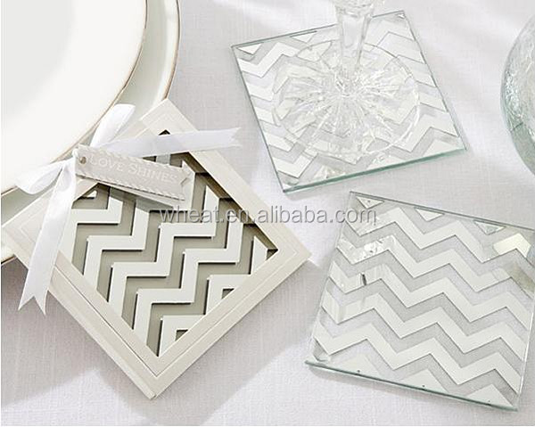 "New ""Shimmer and Shine"" Silver Chevron Glass Coasters"