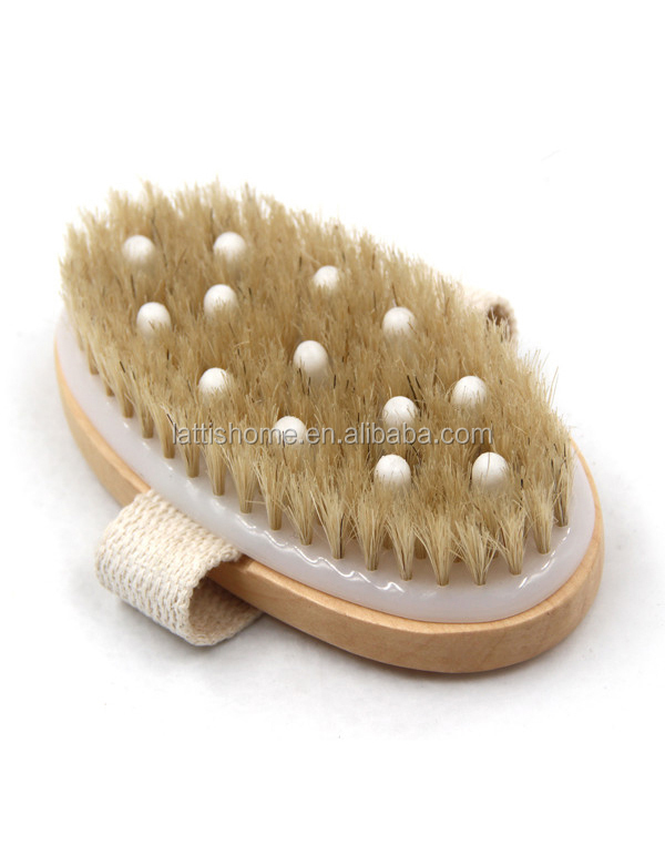 High quality oval shower brush wooden bath brush bristle eco-friendly natura body massage brush