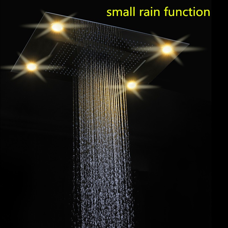 2017 rain shower set recessed embeded ceiling mounted remote control color change 600*800MM led rain shower set