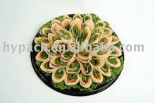 round or rectangular plastic sushi/meat packaging tray