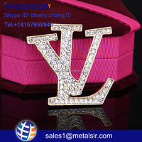 fashion jewelry charm Letter diamond brooch pin customize letter brooch