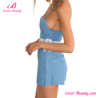 Hot sale beauty fashion backless light blue women jean jumpsuit