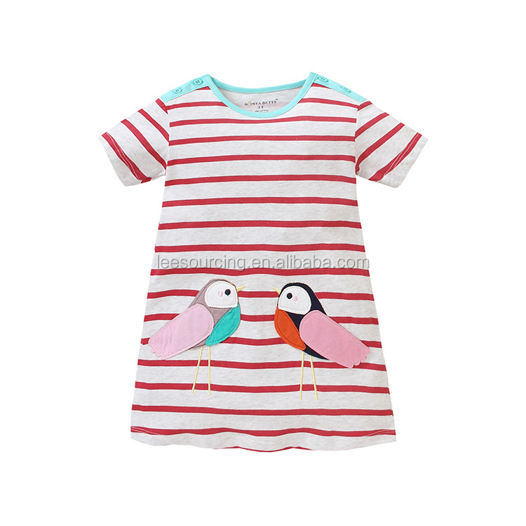 Wholesale summer sports dress baby girl cotton short sleeve cartoon stripe kids clothes girls dress