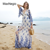 MaxNegio Lady Fashion Floral Embroidery Maxi Length Chiffon Holiday Dress Women Breathable Sunwear Dress with Ruffled Sleeve